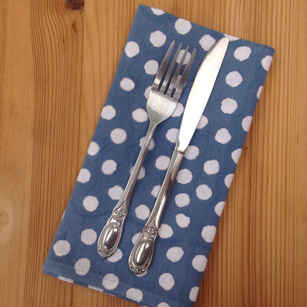 Blue Polka Dot Block Printed Cotton Napkin