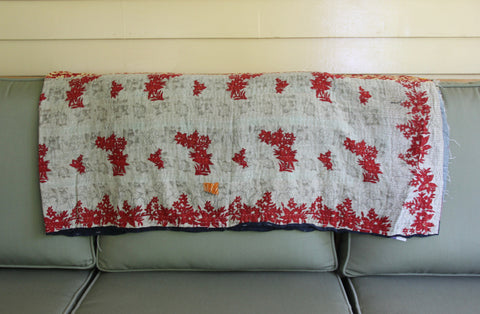 Red Leaves Vintage Kantha Throw Blanket