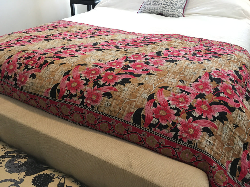 Kantha Throw Blanket - Pink Flowers