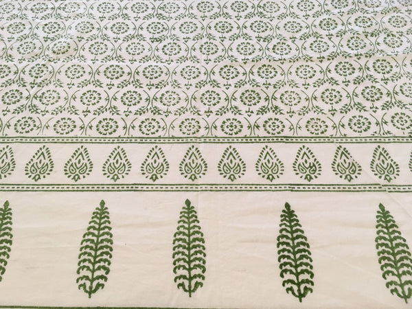 Block Printed Table Cloth - Green
