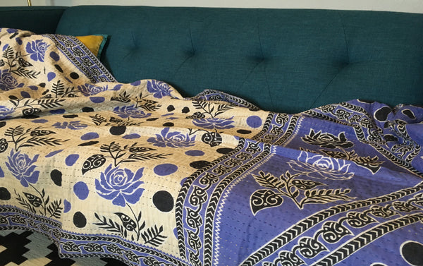 Blue Flowers Ethically Sourced Kantha Throw Blanket