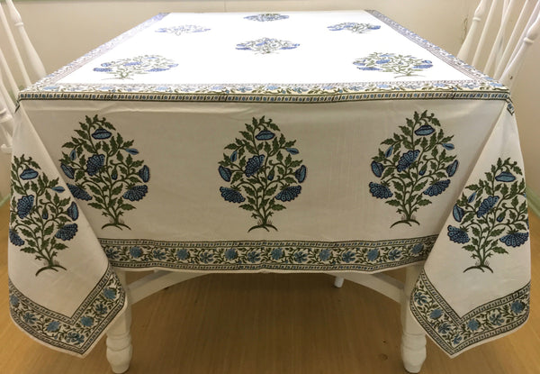 Block Printed Table Cloth - Big Flower