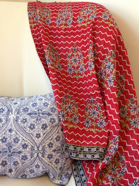 Red Kantha Baby Blanket