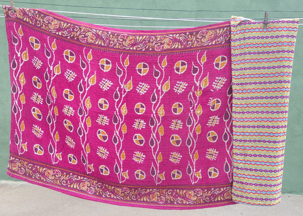 Pink Ethically Sourced Kantha Throw Blanket