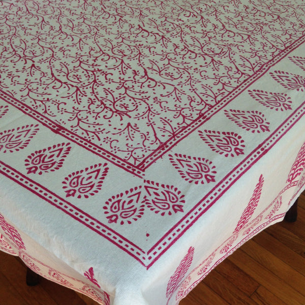 Red Block Printed Table Cloth