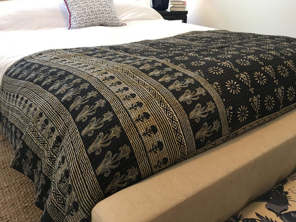 Kantha Throw Blanket - Black & White