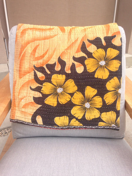 Orange & Black Kantha Baby Blanket
