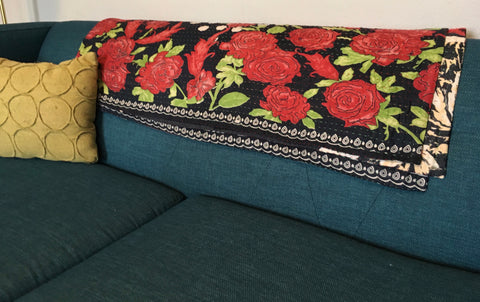 Red Flowers Ethically Sourced Kantha Throw Blanket