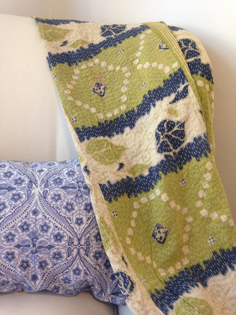 Green Vintage Kantha Throw Blanket