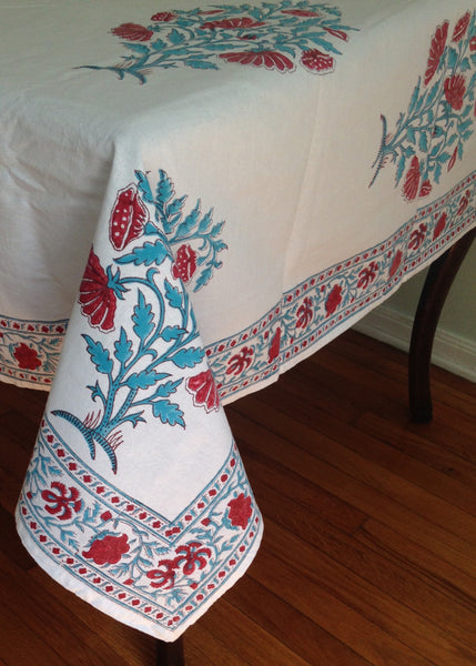Floral Block Printed Table Cloth