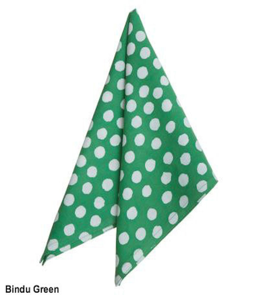 Green Polka Dot Block Printed Cotton Napkin