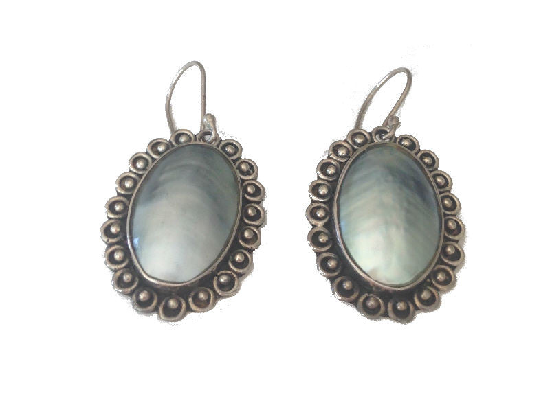 Blue Pearl Sterling Silver Earrings