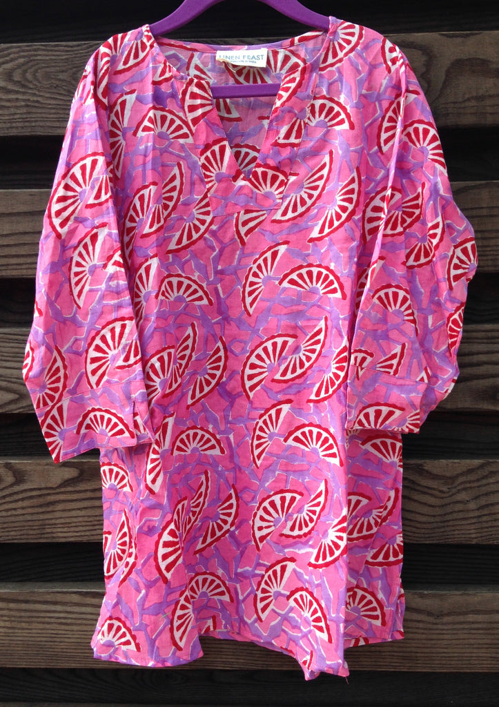 Pink Fruit Slices Cotton Voile Kids' Beach Cover-up