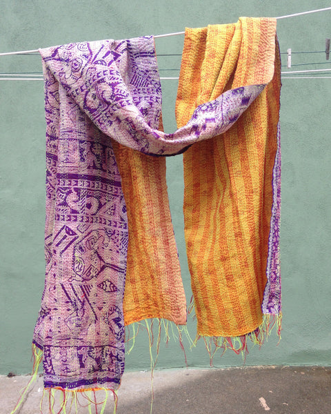 Silk Kantha - Purple & Orange