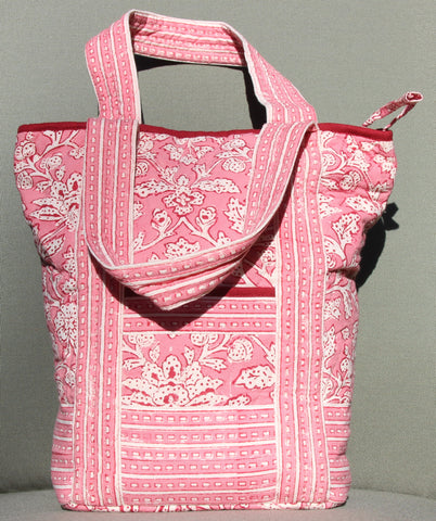 Pink Block Printed Tote Bag