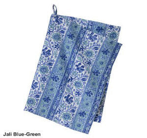 Blue Floral Block Printed Cotton Dish Towel