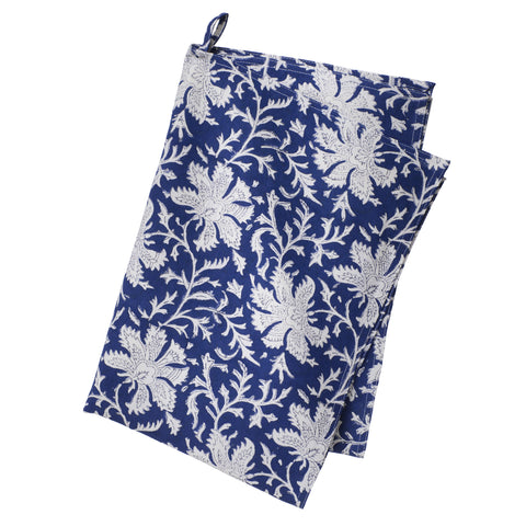Blue Block Printed Cotton Dish Towel