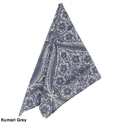 Grey Block Printed Cotton Napkin