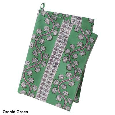 Green Floral Block Printed Cotton Dish Towel