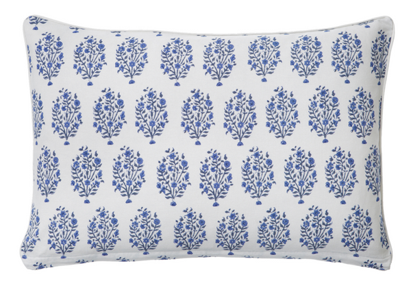 Blue Block Printed Cotton Decorative Pillow Cover