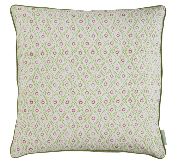 Lulu Lime Block Printed Cotton Decorative Pillow Cover