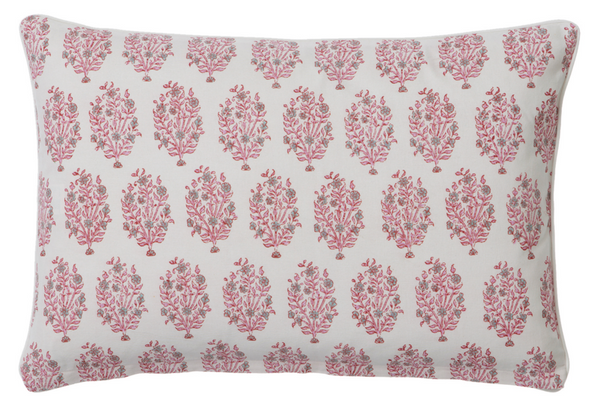 Rose Block Printed Cotton Decorative Pillow Cover
