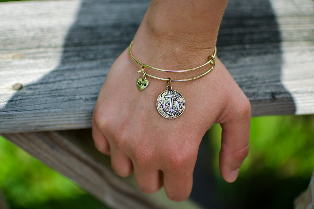 Anchor Charm Bangles | Silver & Gold