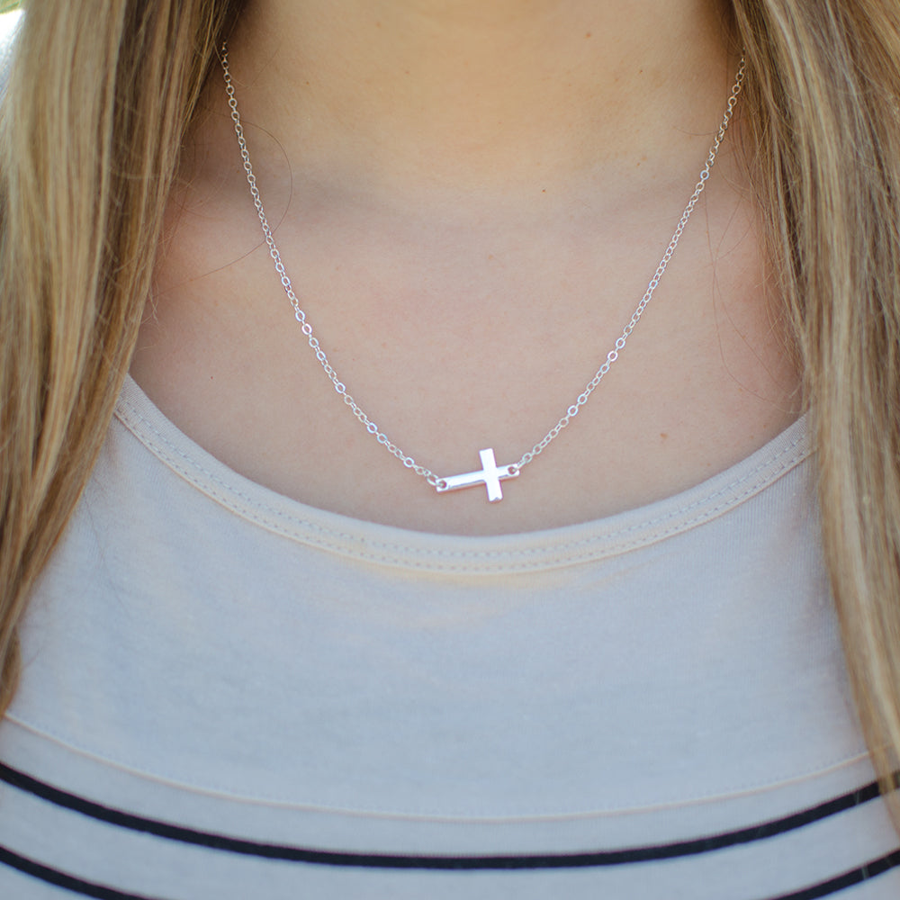 Dainty Cross Charm Necklaces | Silver & Gold