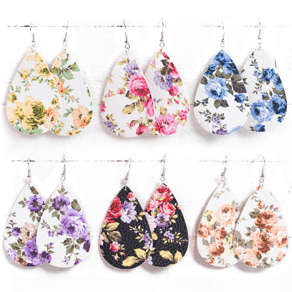 Floral Leather Earrings | 6 Styles