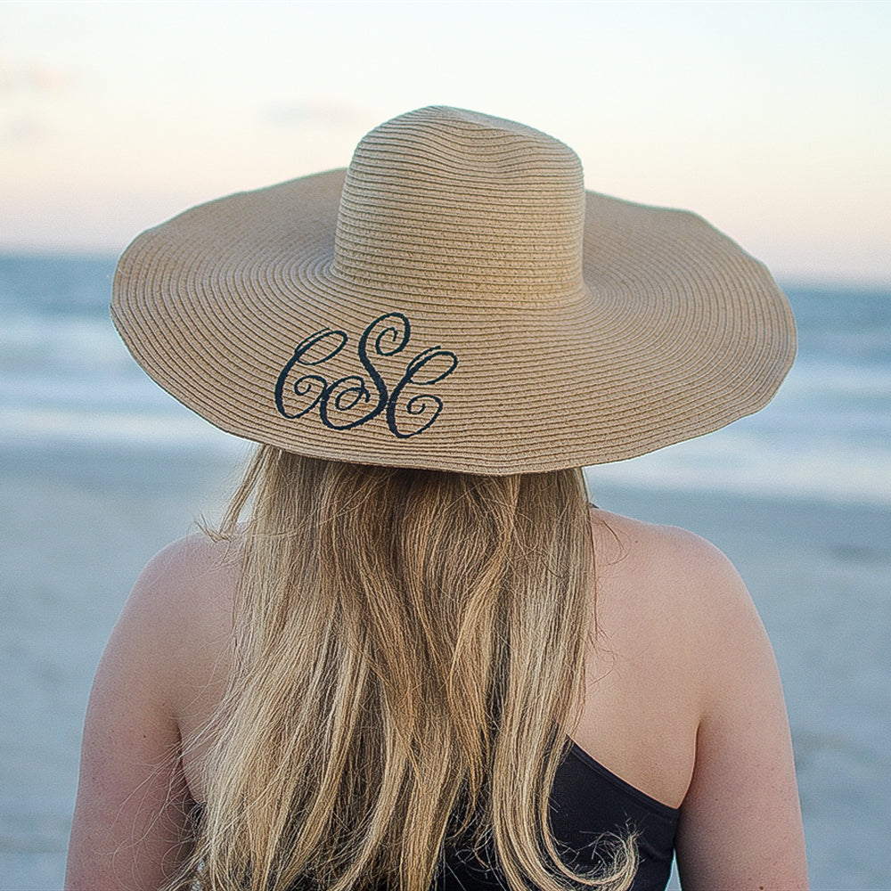 Monogrammed Beach Hats - 11 Colors