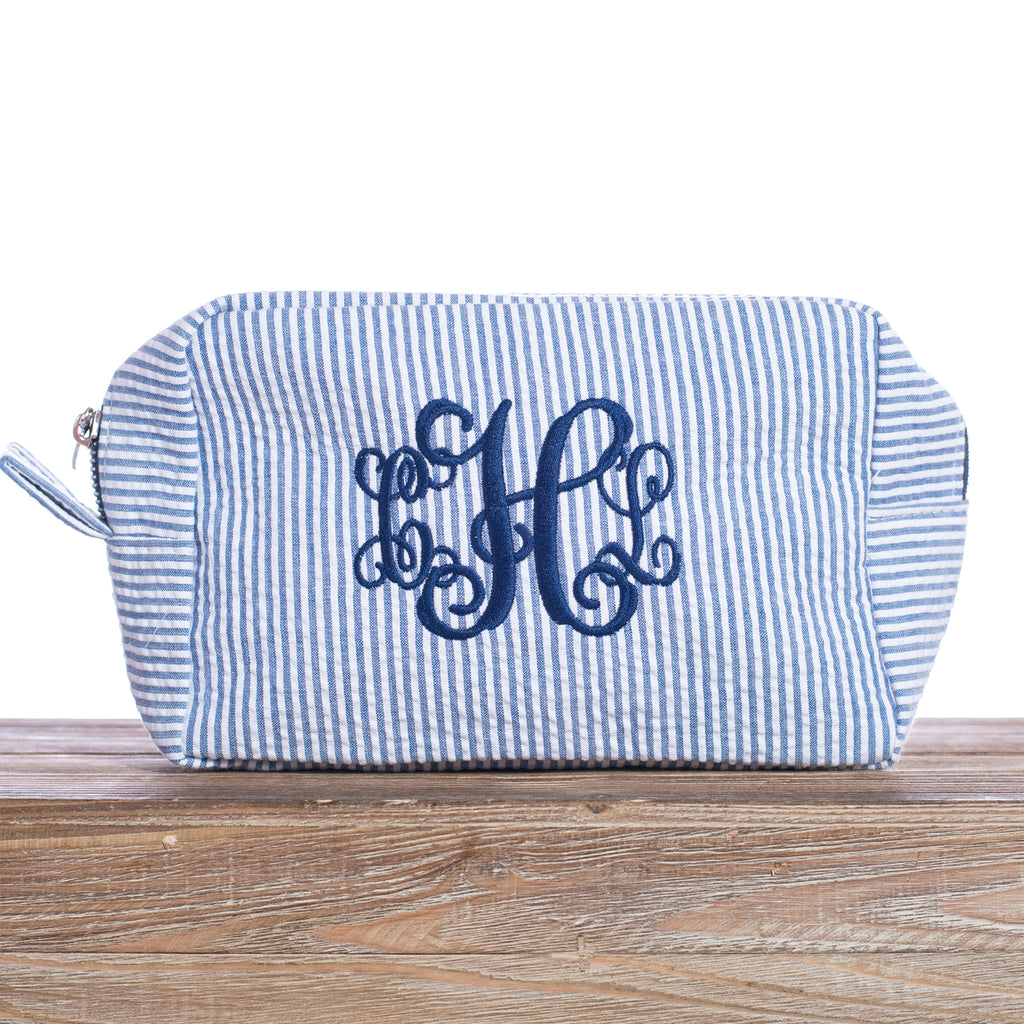 Monogrammed Seersucker Cosmetic Bags | 6 Colors