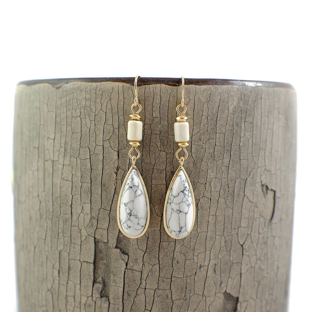 Natural Teardrop Earrings | 2 Colors