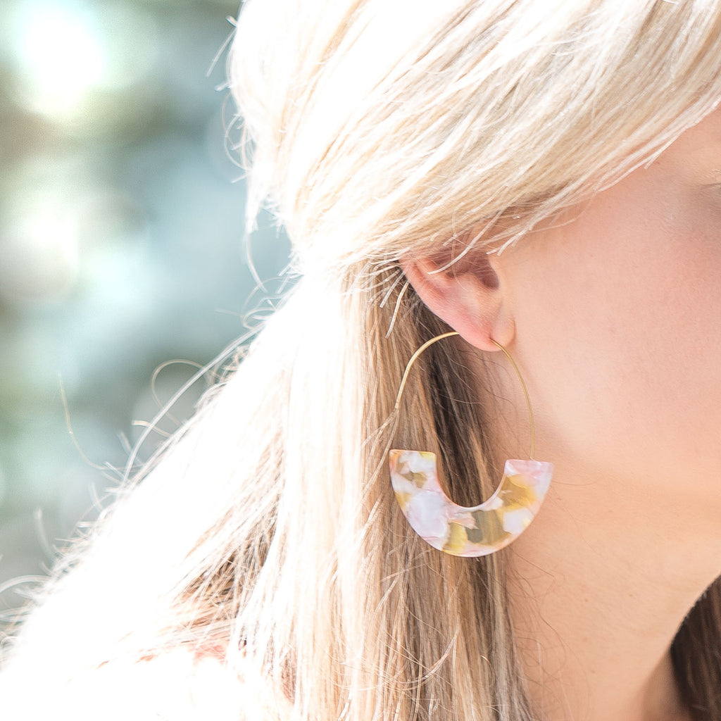 Semi-Hoop Acetate Earrings