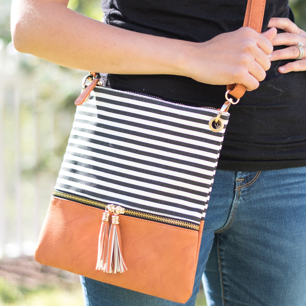 Striped Tassel Crossbodies