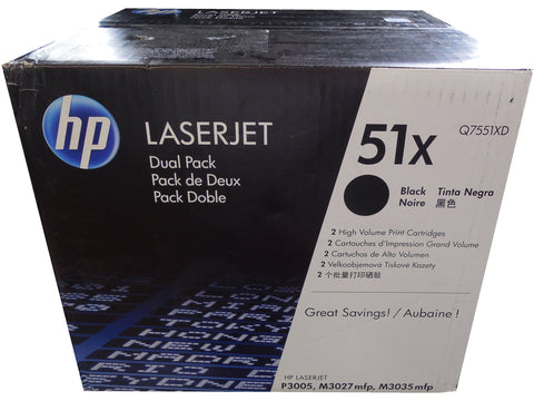 HP Q7551XD (51X) Black High Capacity Toner Dual Pack