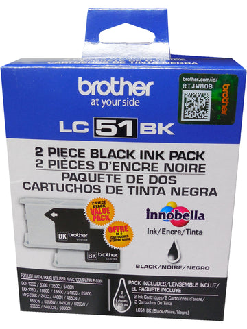 BROTHER LC-51BK Black Ink 2-Pack 500p ea.