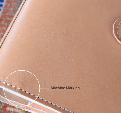 Machine Marking on vegetable tan leather