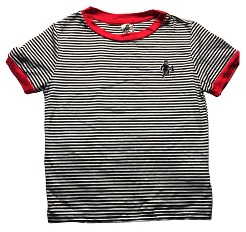 Striped Cropped Logo Tee