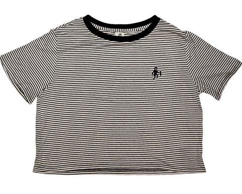 Cropped Striped Logo Tee