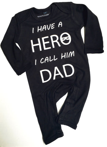 Hero Dad Romper (Black) Organic