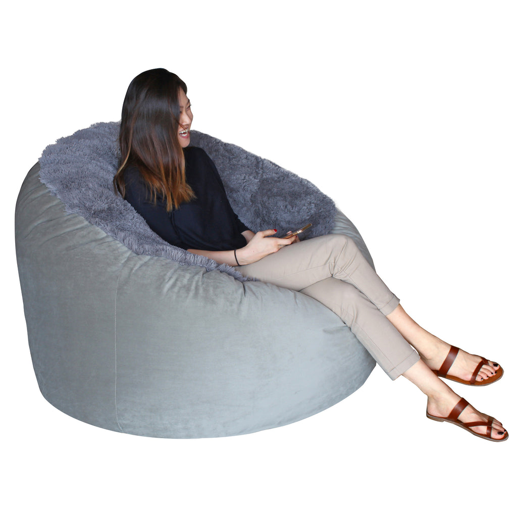 Adult Lounger- Shaggy Charcoal