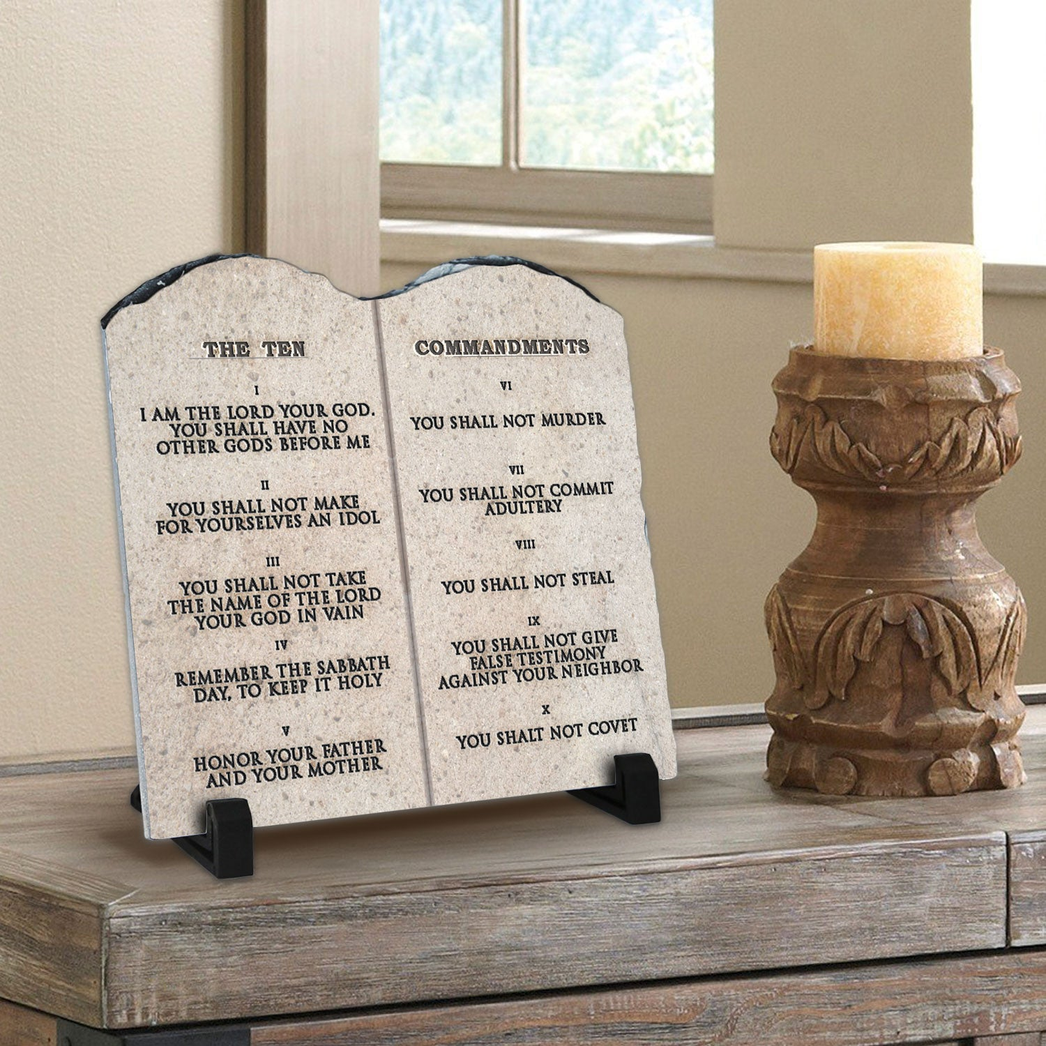 Christian home decor - The Ten Commandments Superior Religious Inspirational Home D Cor By Inspiragifts High Quality Christmas Gift Christian Home Plaque Stone Gift