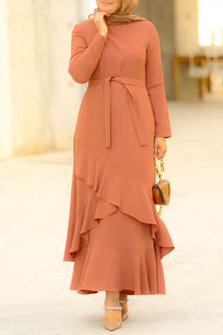 Coffee Modest Dress