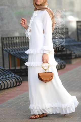 White Modest Dress