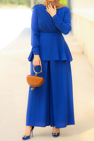Blue Peplum Set