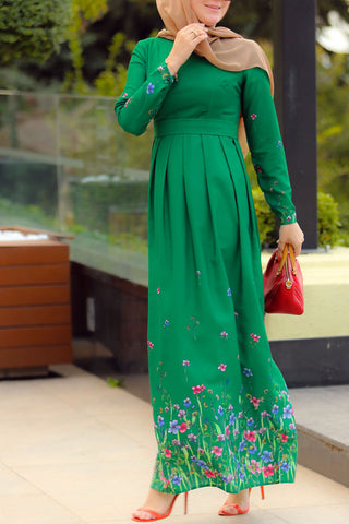 Green Gerbera Dress