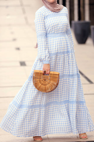 Checkered Blue  Boho