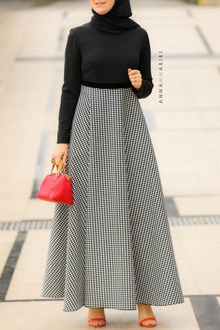 Houndstooth Modest Dress