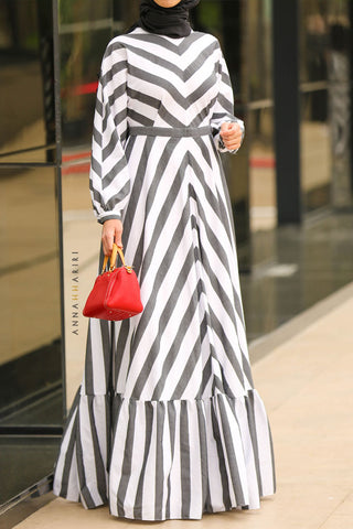 Monochrome Modest Dress