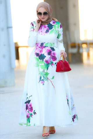 Peonies Modest Dress